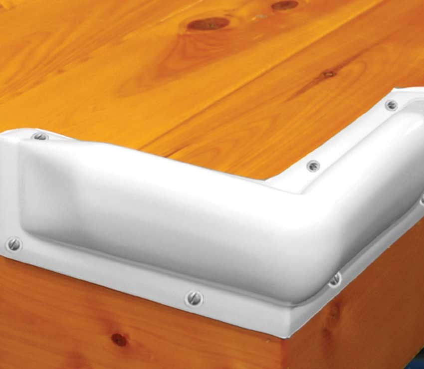 Dock Pro Vinyl Boat Dock Corner Bumpers in White